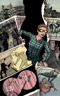 La súper heroína Miss Fifty aparece saliendo de una página de cómic que ella misma está rompiendo. En las viñetas se ven escenas que ocurren en la novela.