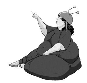 "Ilustración del personaje ""La hormiga atómica"" una villana de la novela ""Miss Fifty"". La mujer padece obesidad mórbida."