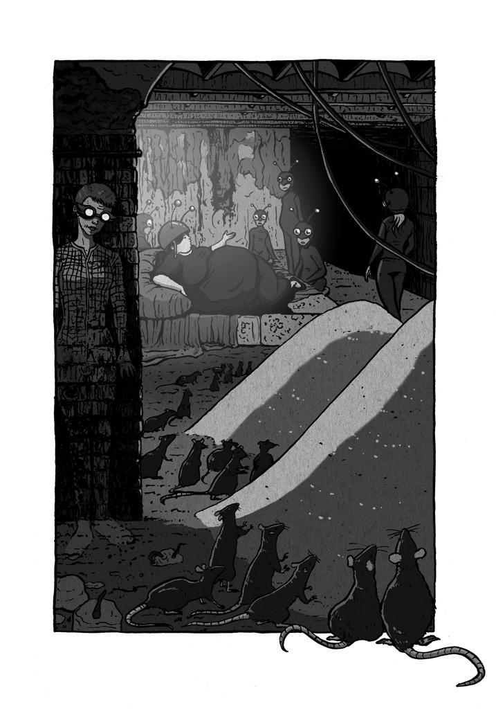 La súper heroína Miss Fifty haciéndose invisible antes de descubrir a su enemiga, la hormiga atómica, en su guarida con sus esbirros. Estación de metro abandonada. Ratas contemplando unas montañas de azúcar.