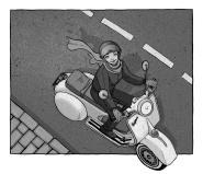 Ilustración de una mujer conduciendo su vespa. Plano cenital.