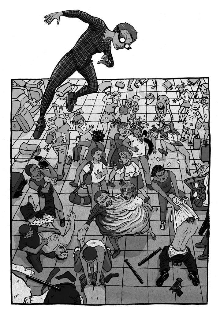 Miss Fifty, la súper heroína, volando en el aeropuerto de Barcelona antes de intervenir para parar el caos que está provocando un villano con dos cabezas. En el aeropuerto los inmigrantes cachean y desnudan a la policía, las azafatas se pelean entre sí, las familias discuten violentamente.