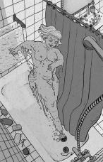 Señora en la ducha se vuelve líquida y se cuela por el desagüe.