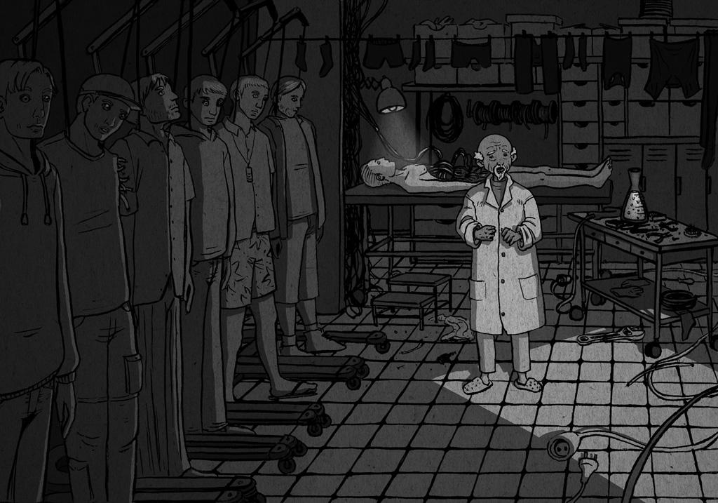 Científico muy mayor en un laboratorio clandestino de robótica.