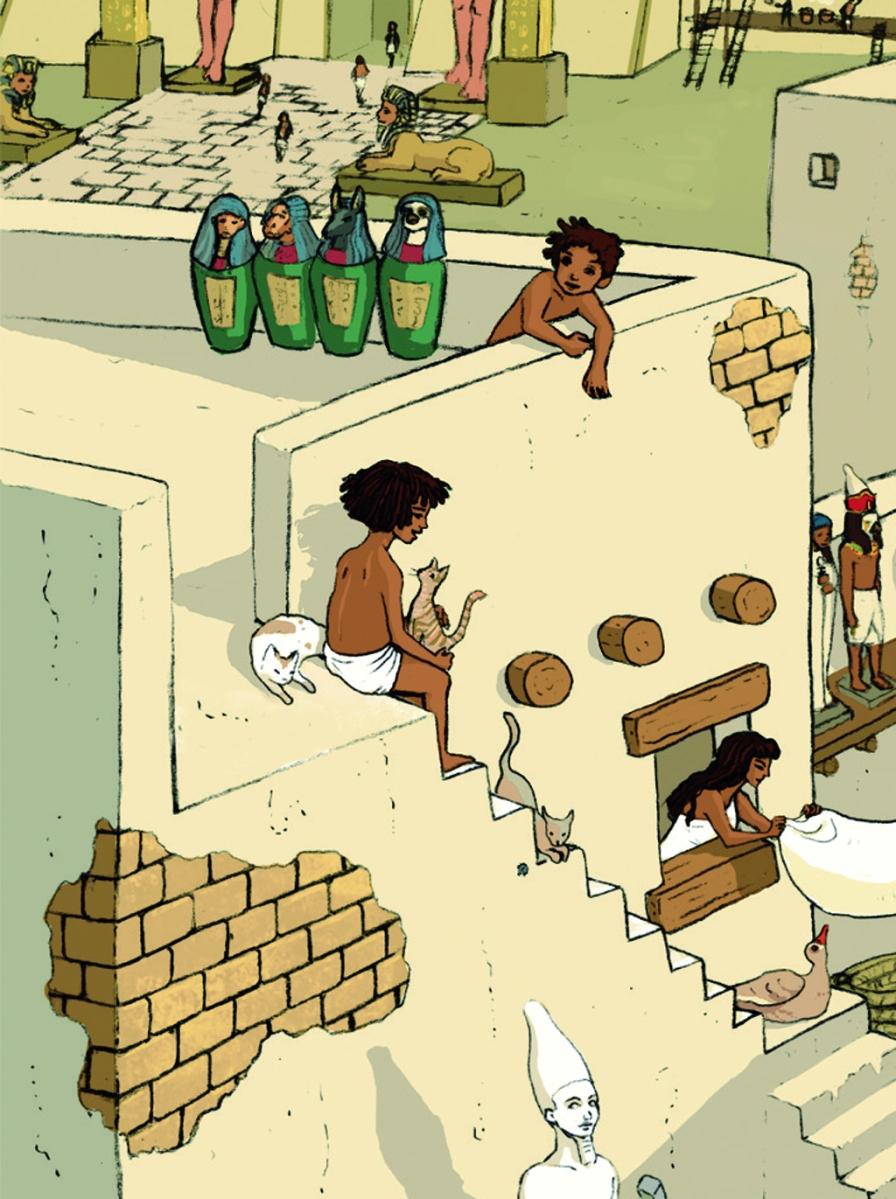 Escena cotidiana en el antiguo Egipto. Niños en una azotea.