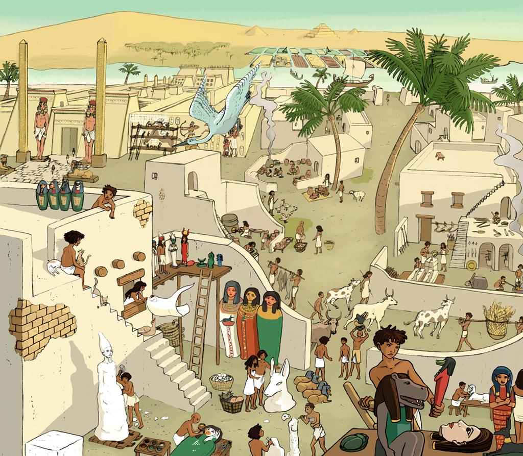 Ilustración que recrea la ciudad de Menfis (Egipto). Pueden verse el templo de Ptah y la necrópolis de Saqqara con las pirámides Titi, Djoser y Userkaf. En la imagen también hay el taller de un escultor, una armería, una panadería, cultivos y ganado.