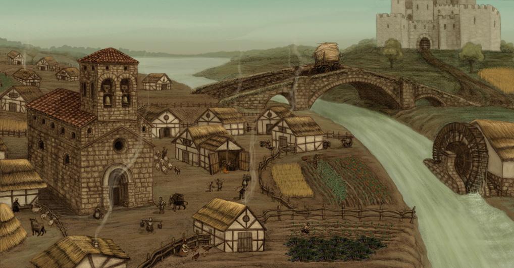 Vista de una aldea medieval española. Se ve una iglesia románica entre las viviendas y un castillo al fondo.