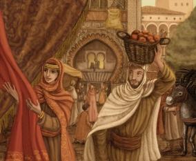 Gente comprando y trabajando en un mercado de la granada Nazarí. Ilustración.