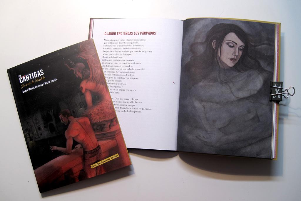 """Fotografía del libro """"Las cántigas, Je suis le diable"""". En ella se ven la cubierta y una imagen de interior."""