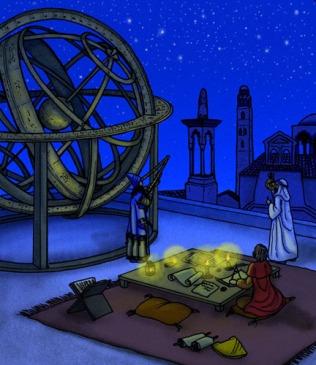 Astrónomos de Al-Ándalus de diferentes religiones trabajan en una azotea. Vistas de arquitectura andaluza. Los científicos examinan las estrellas con instrumentos antiguos como el astrolabio. Hay una esfera alminar enorme.