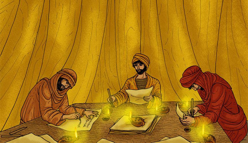 Tres hombres escribiendo.