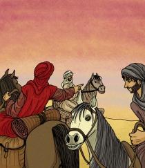 Tres jinetes en el desierto