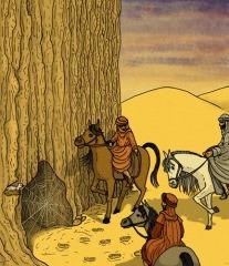 Tres hombres a caballo siguen unas huellas
