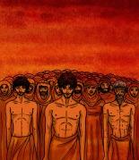 Ilustración de hombres y mujeres aguardando el juicio final.