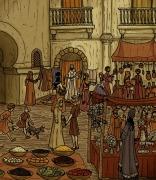 Ilustración de un mercado en la época de Al-Ándalus.
