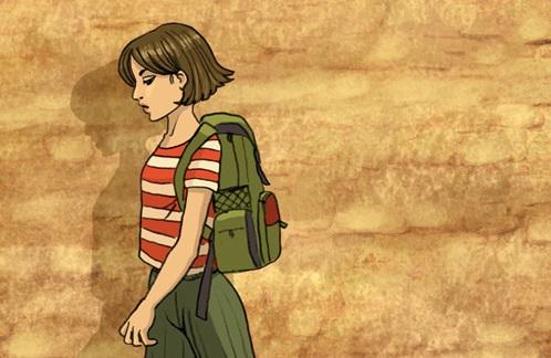 Niña de perfil con mochila caminando
