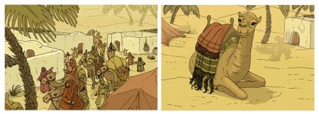 Caravana llegando del desierto