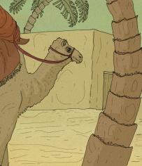 Camello llegando a una ciudad