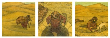 Secuencia en viñetas de un hombre que encuentra un pozo en el desierto.