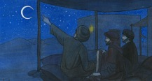 hombres estudiando el cielo