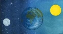 La tierra el sol y la luna.