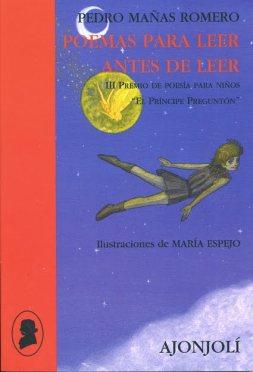 """Cubierta del libro """"Poemas para leer antes de leer"""" En la ilustración Peter Pan y Campanilla vuelan en un cielo nocturno."""