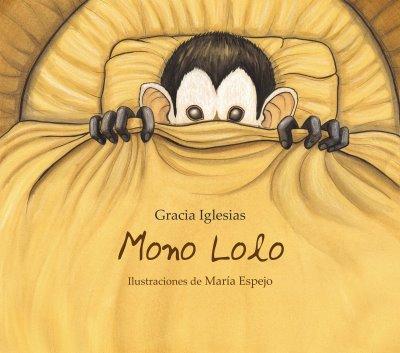 Cubierta de libro infantil ilustrado. Un mono metido dentro de un carrito de bebé se cubre la cara con una manta.
