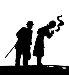silueta de Sherlock Holmes y Watson inspeccionando unas huellas-