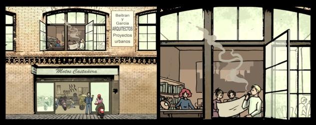 viñeta en la que se ve la fachada de un edificio donde se encuentran un estudio de arquitectura y un taller de motos.