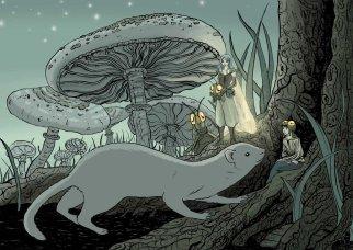 Ilustración fantástica. Un hada con el pelo azul disfrazada de saltamontes sostiene su casco en las manos. Las hadas están interactuándo con animales e insectos que se ven enormes por el cambio de escala como ocurre con las setas gigantes del último plano.