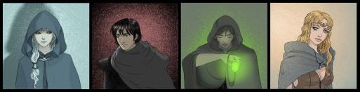 Cuatro personajes de fantasía épica. Una hechicera, un guerrero, un mago y una guerrera.