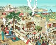 Ilustración que interpreta una ciudad mesopotámica. En ella hay escenas de mujeres hilando, un taller de cerámica, un telar una armería y campos de cultivos. Puede verse un templo en el último plano.