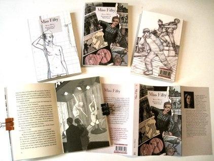 Fotografía que muestra la edición de la novela Miss Fifty