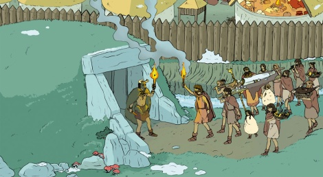 Ilustración de un ritual funerario neolítico.