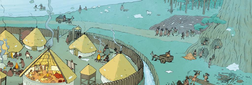 Ilustración de una aldea neolítica fortificada.