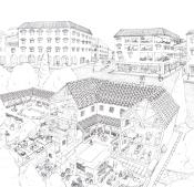 Ilustración técnica de historia en la que se ve la insula y el domo de las antiguas ciudades romanas.