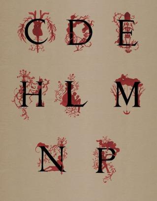 Capitulares para Diez cuentos de Terror de Edgar Allan Poe (Reino de Cordelia 2017).