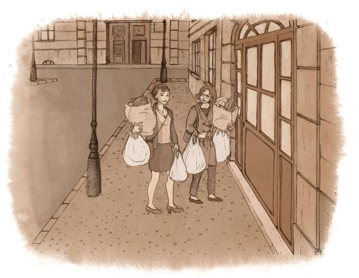 Dos mujeres cargadas con bolsas llegan al portal de su casa